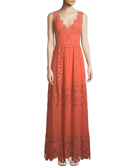 Audra Lace Trim Silk Maxi Dress by Kobi Halperin