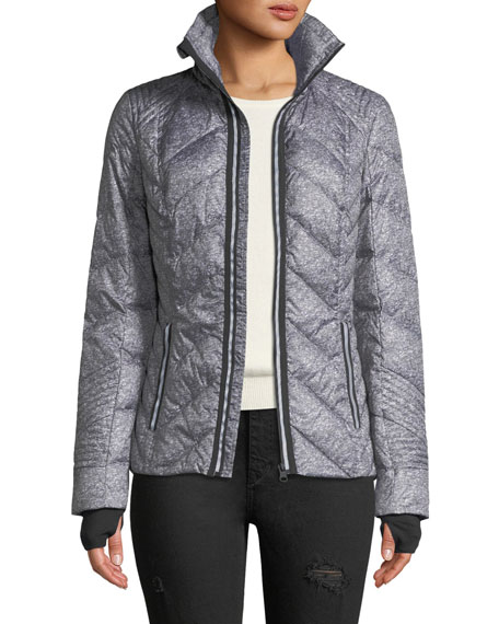 Blanc Noir Metallic Zip Front Quilted Puffer Jacket With Reflective