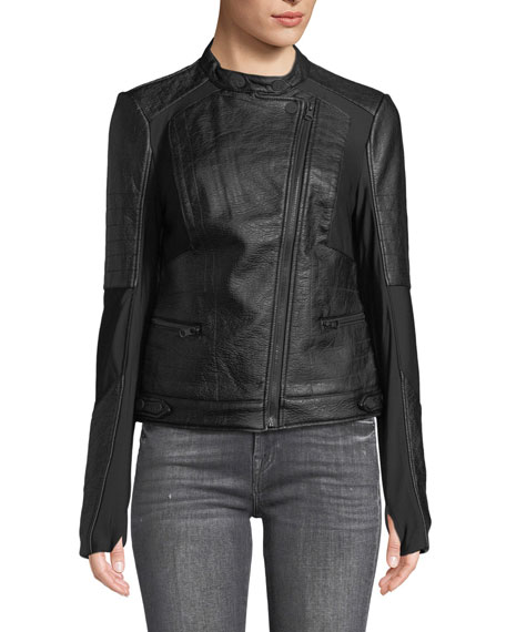 Ryder Faux-Leather Moto Jacket with Stretch-Knit Inserts