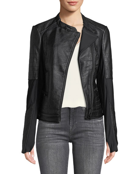 Blanc Noir Ryder Faux-Leather Moto Jacket with Stretch-Knit