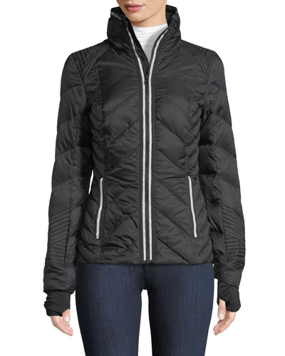 Zip-Front Quilted Puffer Jacket with Reflective Trim