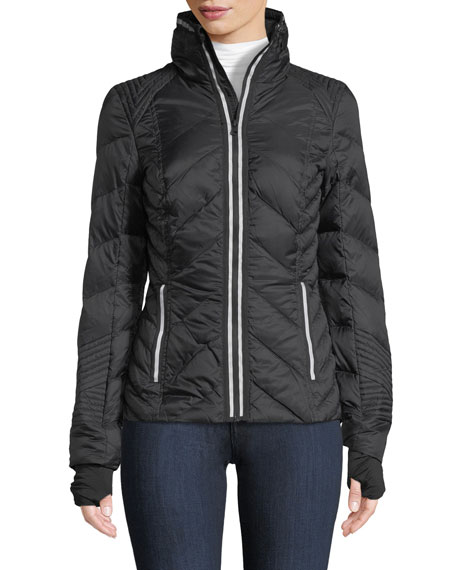 Blanc Noir Zip-Front Quilted Puffer Jacket with Reflective