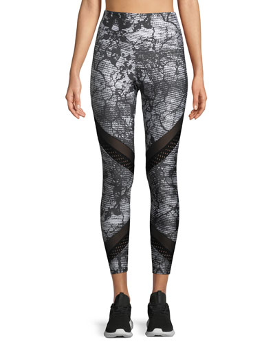 Onzie High-Waist Abstract-Print Sporty Leggings with Mesh