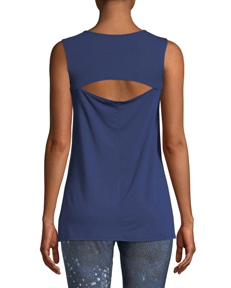 Open-Back Crewneck Tank with Side Slits