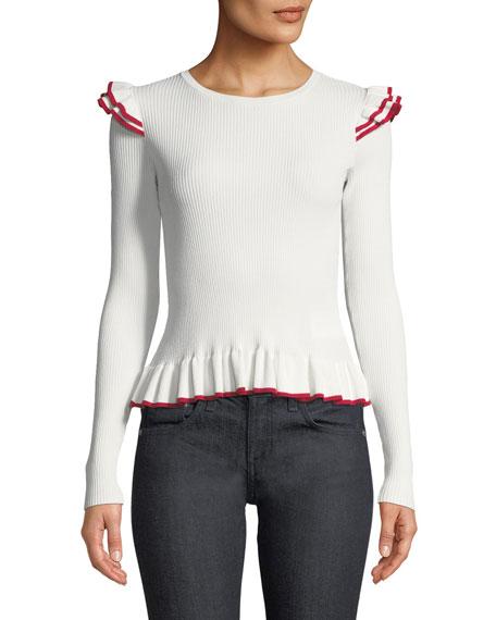 Club Monaco Skarlier Ribbed Ruffle Sweater