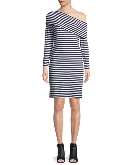 Skarlie One-Shoulder Long-Sleeve Striped Dress