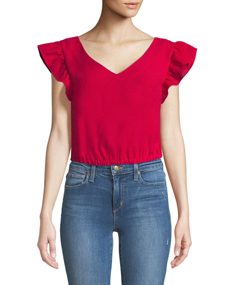 Visele V-Neck Ruffle Crop Top