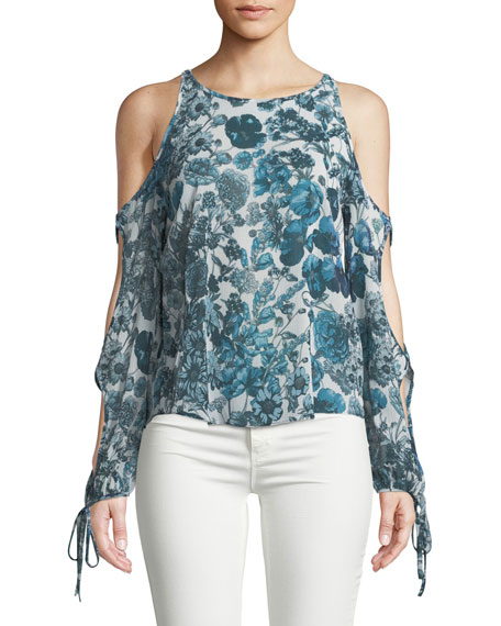 Bailey 44 Flea Market Open-Sleeve Printed Chiffon Top