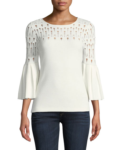 Bailey 44 Street-Fair Round-Neck Knit Top with Distressing