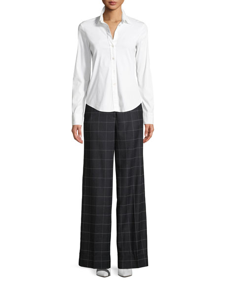 Hansel Windowpane Wide-Leg Trouser