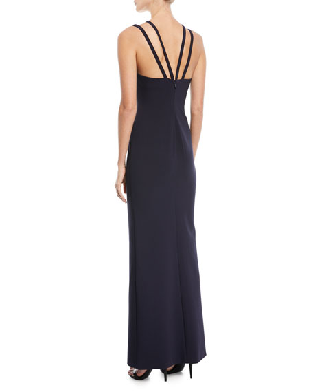 Leslie Strappy V-Neck Front-Slit Gown