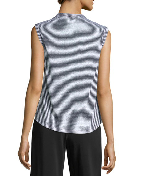 Braxton Crewneck Sleeveless Striped Linen Tee