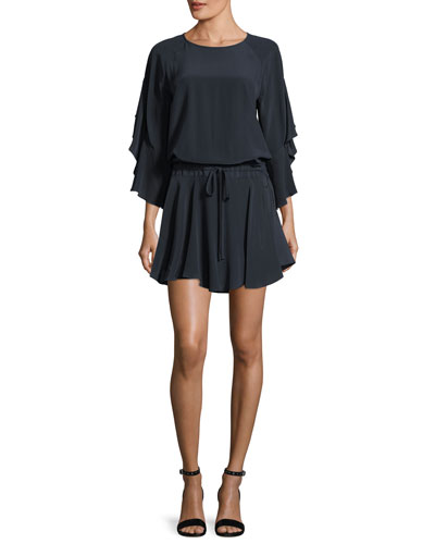 Cannon Draped-Sleeves Silk Mini Dress