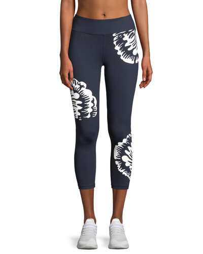 Soho Reflective Floral-Print Cropped Leggings