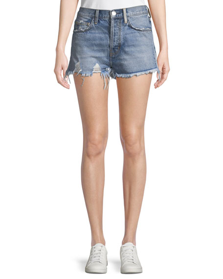 Current/Elliott The Ultra High-Waist Jean Shorts with Raw-Edge