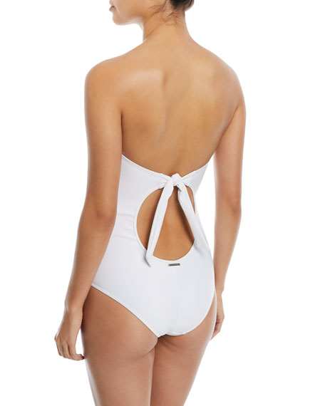 Broderie Anglaise Strapless One-Piece Swimsuit
