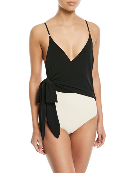 Draping Colorblock One-Piece Wrap Swimsuit