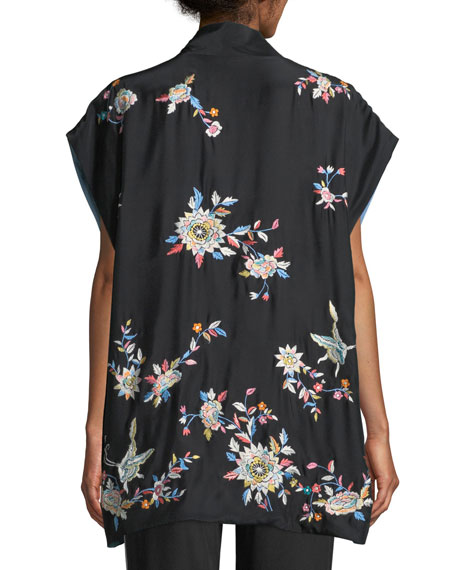 Mariposa Embroidered Silk Vest