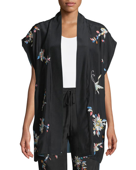 Josie Natori Mariposa Embroidered Silk Lounge Pants and