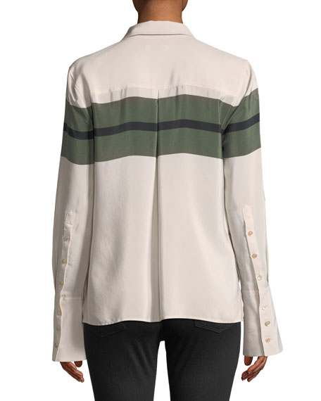 Huntley Button-Front Chest Stripe Bell-Sleeve Silk Shirt