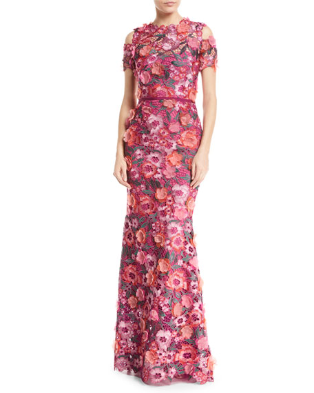 Marchesa Notte Floral 3D Guipure Lace Cold-Shoulder Gown