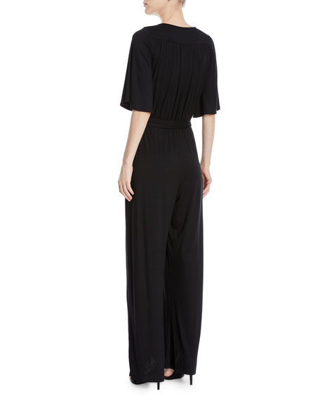 Image 2 of 2: Meridith Wide-Leg Jersey Jumpsuit
