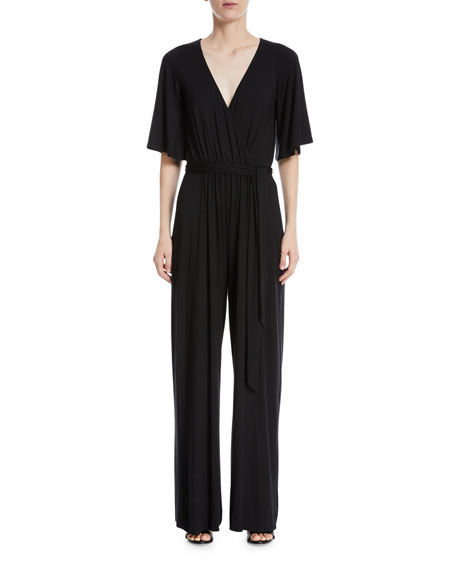 Image 1 of 2: Meridith Wide-Leg Jersey Jumpsuit