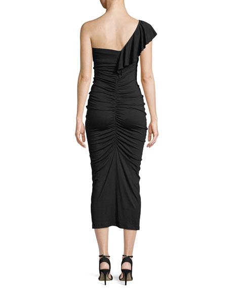 Jacqueline One-Shoulder Ruched Ruffle Dress