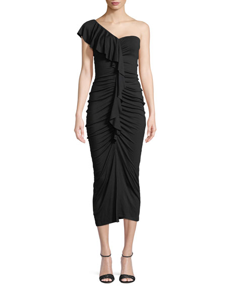 Jacqueline One-Shoulder Ruched Ruffle Dress, Plus Size