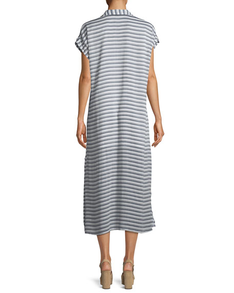 Striped Button-Front Shirtdress