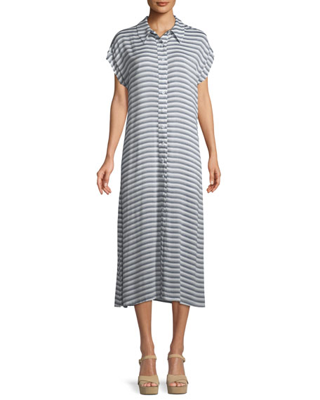 Striped Button-Front Shirtdress, Plus Size