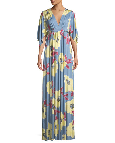 Bloom-Print Long Caftan Dress, Plus Size