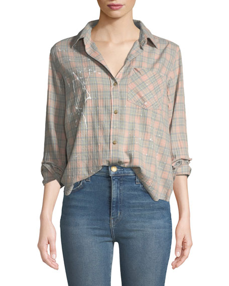 Current/Elliott The Ivie Button-Front Plaid Shirt w/ Paint
