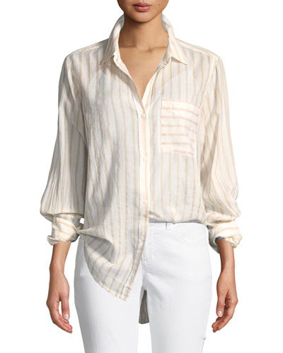 The Boyfriend Long-Sleeve Button-Front Striped Cotton Shirt