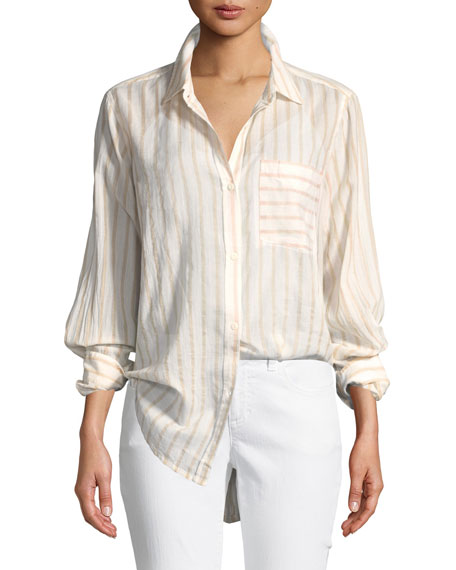 Current/Elliott The Boyfriend Long-Sleeve Button-Front Striped