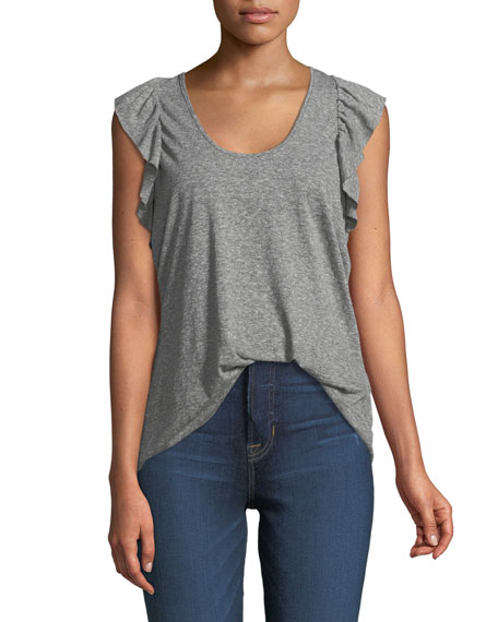 Current/Elliott The Cadence Scoop-Neck Racerback Tank with Ruffle