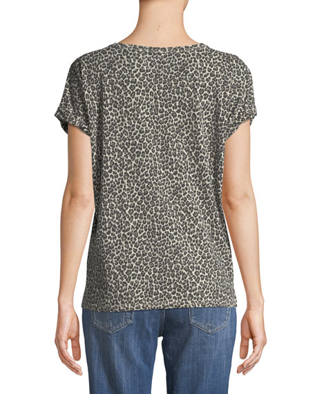 Leopard-Print Crewneck Cuffed-Sleeve Linen-Cotton Tee
