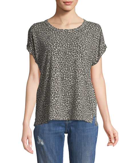 Current/Elliott Leopard-Print Crewneck Cuffed-Sleeve Linen-Cotton Tee