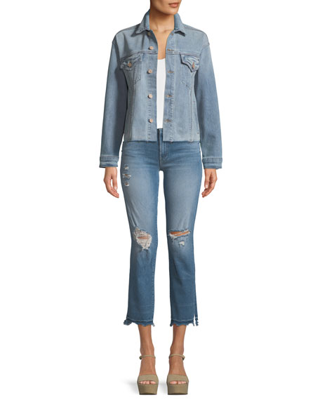 Rascal Snippet Chew Straight-Leg Ankle Jeans
