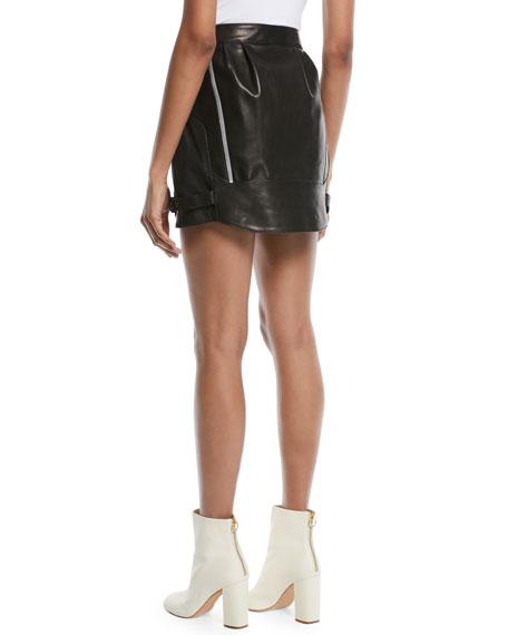Baggy Moto Leather Mini Skirt