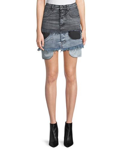 Potassium Double-Hem Denim Skirt