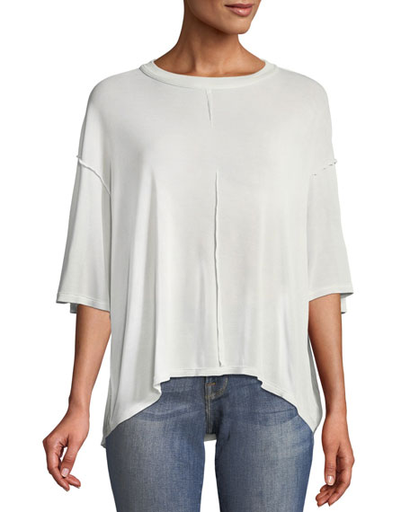 Crewneck Cutout-Back Silk Tee