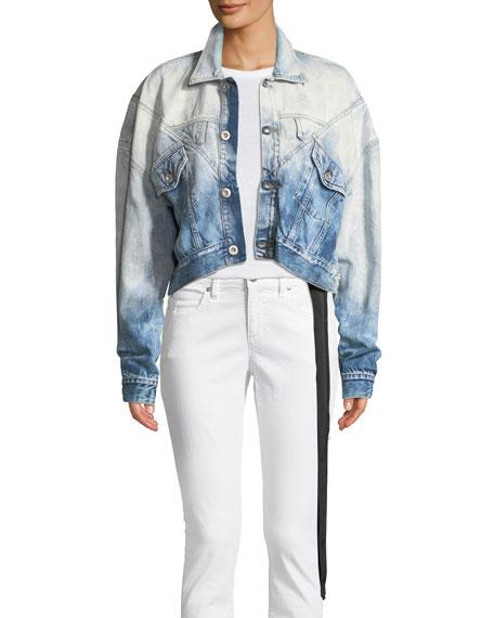 UNRAVEL Logo & Lines Hybrid Cropped Denim Jacket