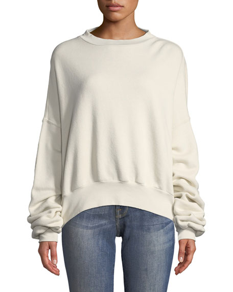 Crewneck Open-Back Cotton Terry Sweatshirt