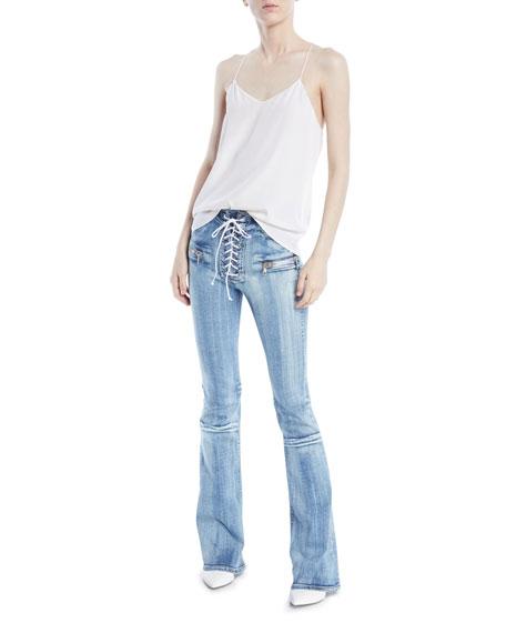 Potassium Lace-Up Flare-Leg Jeans