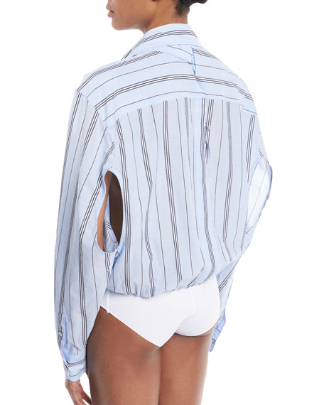 Deconstructed Long-Sleeve Button-Down Striped Bodysuit