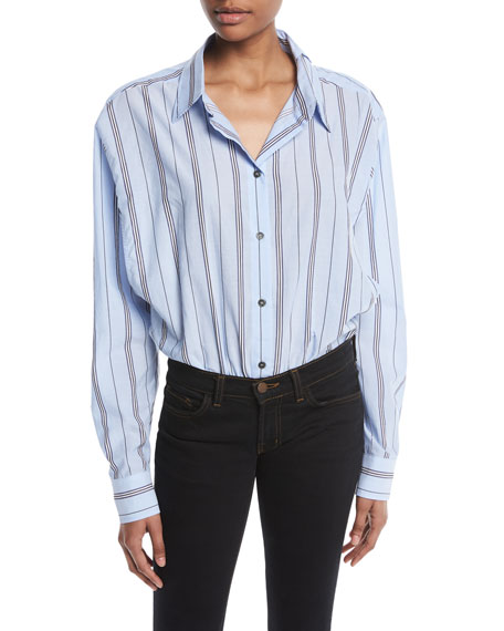 UNRAVEL Deconstructed Long-Sleeve Button-Down Striped Bodysuit in Multi
