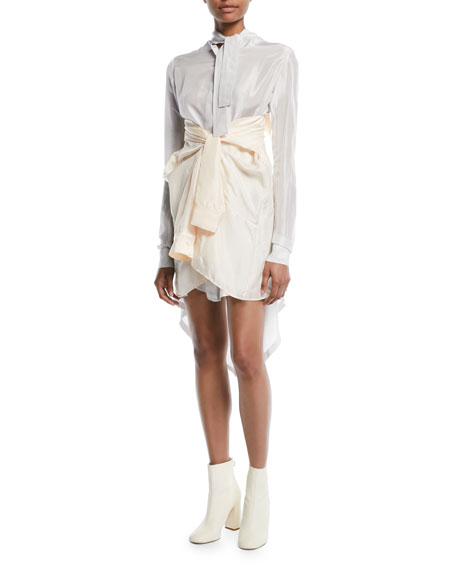 Long-Sleeve Faux-Wrap Silk Shirtdress