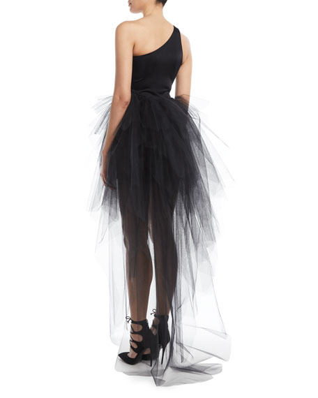 Siren One-Shoulder Top w/ Tulle Layer Skirt
