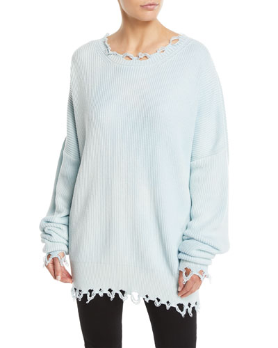 Crewneck Long-Sleeve Distressed Rib-Knit Sweater